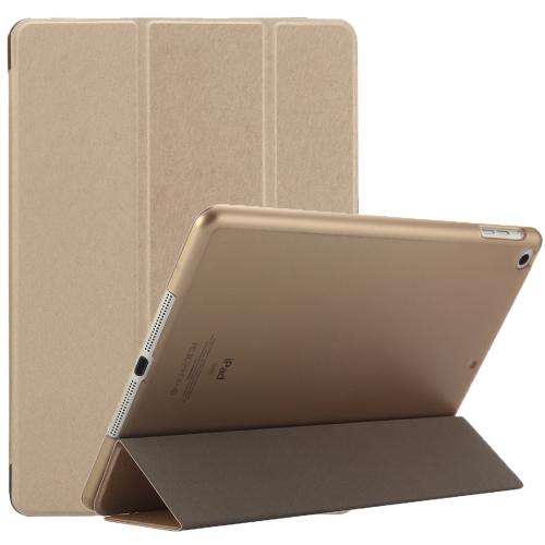 For iPad 9.7 (2018) & iPad 9.7 inch (2017) & iPad Air Silk Texture Horizontal Flip Leather Case with Three-folding Holder(Gold)