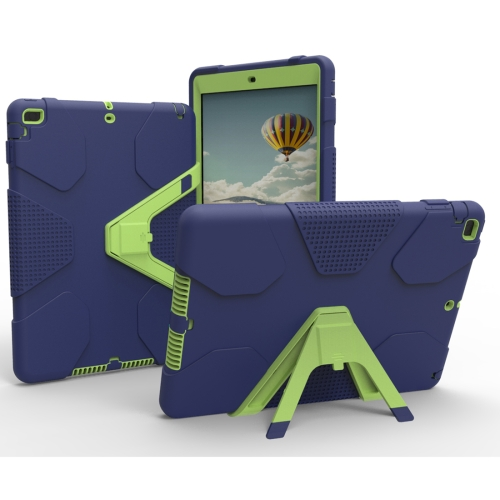 For iPad 9.7 (2018) & iPad 9.7 inch (2017) PC+Silicone Shockproof Protective Back Cover Case With Holder(Navy Blue) tablet case for ipad air 2 a1567 extreme heavy duty shockproof rubber cover with stand hard cover case for ipad pro 9 7 inch