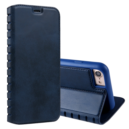 Buy For iPhone 8 & 7 PU Retro Texture with Absorption Horizontal Flip Leather Case with Holder & Card Slots, Blue for $4.19 in SUNSKY store