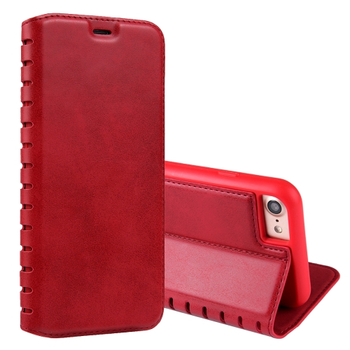 Buy For iPhone 8 & 7 PU Retro Texture with Absorption Horizontal Flip Leather Case with Holder & Card Slots, Red for $4.19 in SUNSKY store