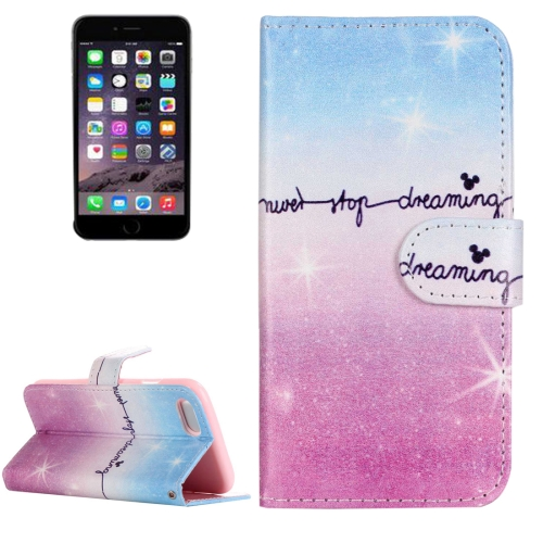Buy For iPhone 8 & 7 Painting Pink and Blue Dream Sky Pattern Horizontal Flip Leather Case with Holder & Card Slots & Wallet for $2.14 in SUNSKY store