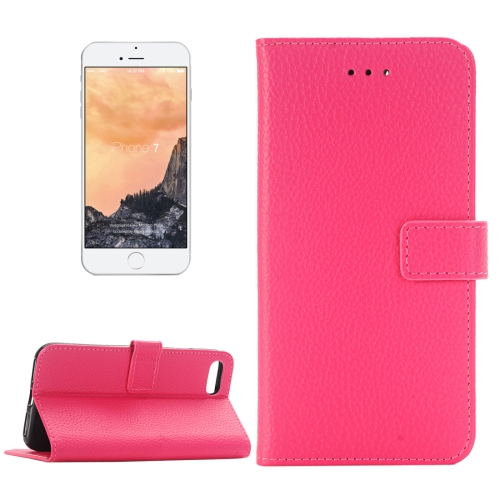 Buy For iPhone 8 & 7 Lichee Texture Horizontal Flip Leather Case with Holder & Card Slots & Wallet, Magenta for $2.52 in SUNSKY store