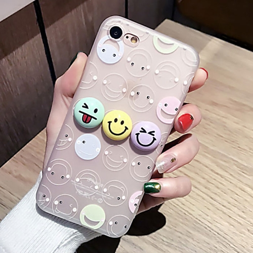 Buy For iPhone 8 & 7 3D Smiling Face Expression Pattern Silicone Protective Cover Case with Dustproof Plug for $2.97 in SUNSKY store
