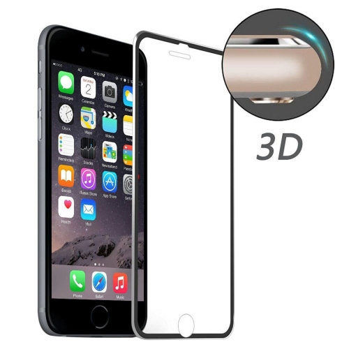 ENKAY for iPhone 8 & iPhone 7 Hat-Prince 0.2mm 9H Surface Hardness 3D Aluminum Alloy Curved Edge Explosion-proof Tempered Glass Screen Protector(Black)