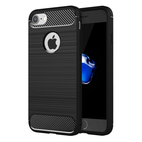 For iPhone 8 & 7 Brushed Texture Fiber TPU Rugged Armor Protective Case(Black)