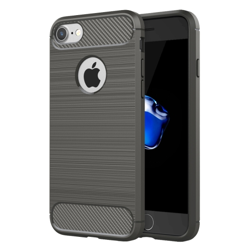 For iPhone 8 & 7 Brushed Texture Fiber TPU Rugged Armor Protective Case(Grey)