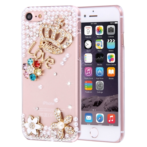 Buy Fevelove for iPhone 8 & 7 Diamond Encrusted Bling Crown Pattern PC Protective Case Back Cover for $3.25 in SUNSKY store