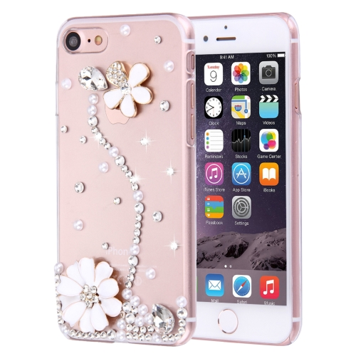 Buy Fevelove for iPhone 8 & 7 Diamond Encrusted Pearl Flower Pattern PC Protective Case Back Cover for $2.76 in SUNSKY store