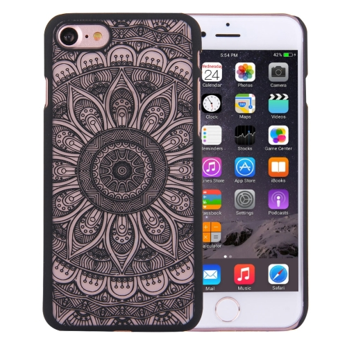 For iPhone 8 & 7 Embossed Lotus Pattern Plastic Protective Back Cover Case, Black