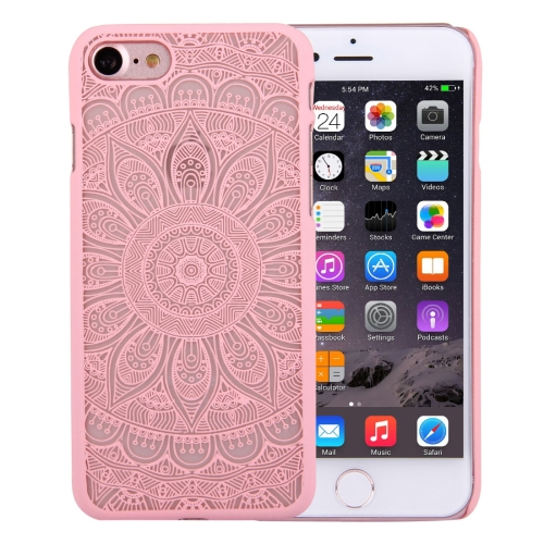 Buy For iPhone 8 & 7 Embossed Lotus Pattern Plastic Protective Back Cover Case, Pink for $1.27 in SUNSKY store
