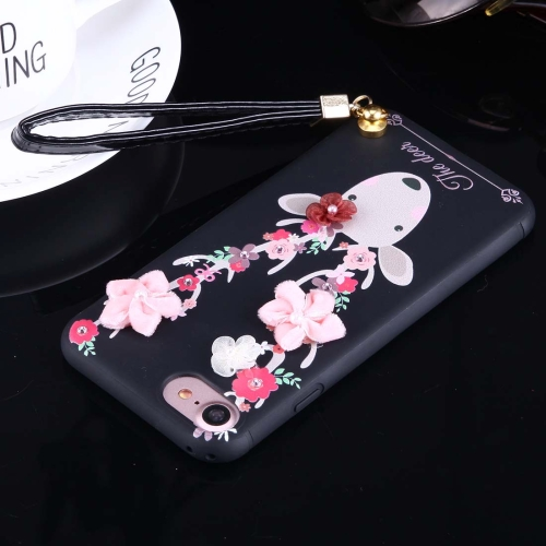 For iPhone 8 & 7 3D Flowers and Deer Pattern Soft TPU Back Cover Case with Lanyard, Black