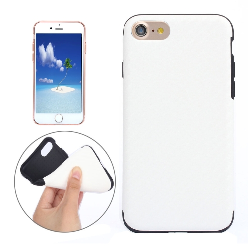 Buy For iPhone 8 & 7 Carbon Fiber Texture Soft PU Protective Case Back Cover, White for $2.97 in SUNSKY store