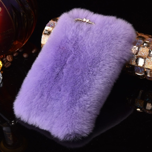 Buy For iPhone 8 & 7 Genuine Rabbit Hair Diamond Encrusted Thickened PC Protective Case, Purple for $3.75 in SUNSKY store