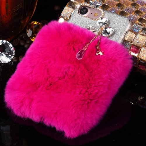 Buy For iPhone 8 & 7 Genuine Rabbit Hair Diamond Encrusted Flash Powder Soft TPU Protective Case, Magenta for $4.63 in SUNSKY store