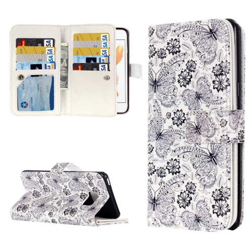 For iPhone 8 & 7 Flowers Butterfly Embossed Pattern Horizontal Flip Leather Case with 9 Card Slots & Wallet & Holder