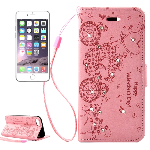 Buy For iPhone 8 & 7 Pressed Flower Butterfly Carriage Pattern Diamond Encrusted Horizontal Flip Leather Case with Holder & Card Slots & Wallet & Photo Frame & Lanyard, Pink for $2.46 in SUNSKY store
