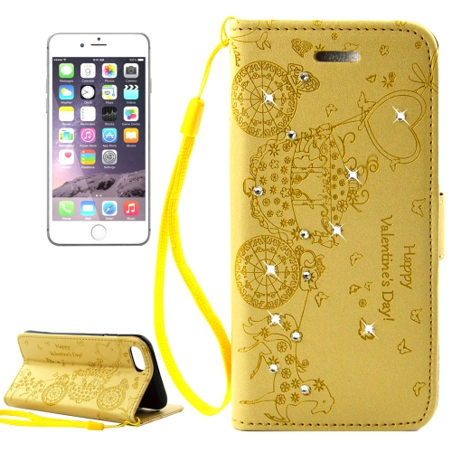 Buy For iPhone 8 & 7 Pressed Flower Butterfly Carriage Pattern Diamond Encrusted Horizontal Flip Leather Case with Holder & Card Slots & Wallet & Photo Frame & Lanyard, Gold for $2.46 in SUNSKY store
