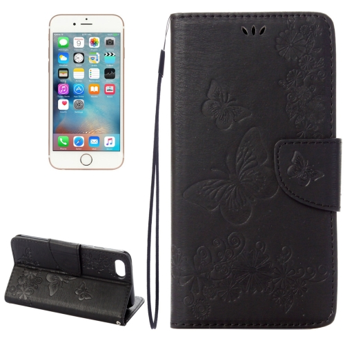 For iPhone 8 & 7 Pressed Flowers Butterfly Pattern Horizontal Flip Leather Case with Holder & Card Slots & Wallet(Black) фото