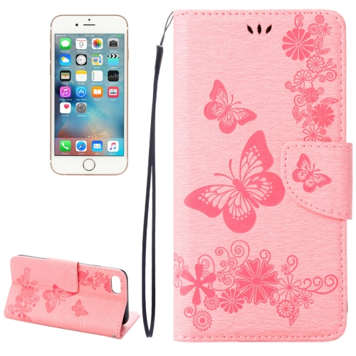 Buy For iPhone 8 & 7 Pressed Flowers Butterfly Pattern Horizontal Flip Leather Case with Holder & Card Slots & Wallet, Pink for $2.16 in SUNSKY store