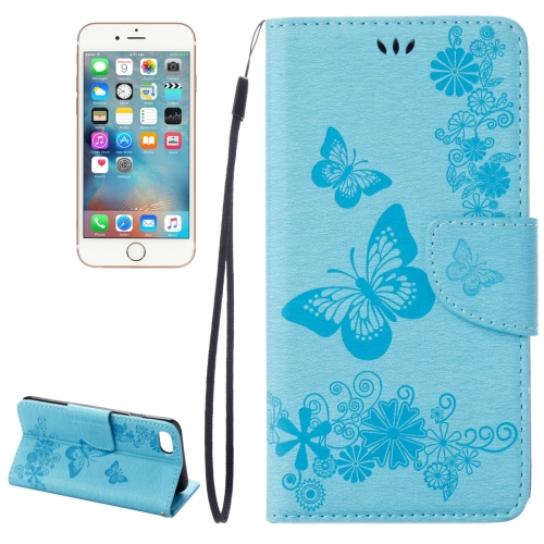 Buy For iPhone 8 & 7 Pressed Flowers Butterfly Pattern Horizontal Flip Leather Case with Holder & Card Slots & Wallet, Blue for $2.16 in SUNSKY store