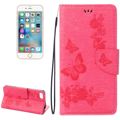 Buy For iPhone 8 & 7 Pressed Flowers Butterfly Pattern Horizontal Flip Leather Case with Holder & Card Slots & Wallet, Magenta for $2.16 in SUNSKY store