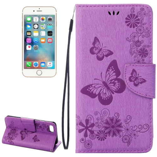 Buy For iPhone 8 & 7 Pressed Flowers Butterfly Pattern Horizontal Flip Leather Case with Holder & Card Slots & Wallet, Purple for $2.16 in SUNSKY store