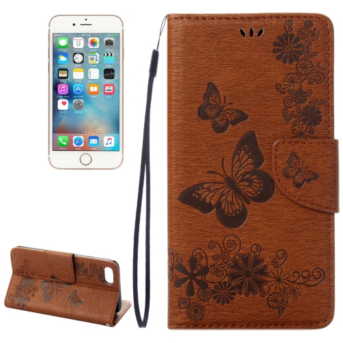 Buy For iPhone 8 & 7 Pressed Flowers Butterfly Pattern Horizontal Flip Leather Case with Holder & Card Slots & Wallet, Brown for $2.16 in SUNSKY store