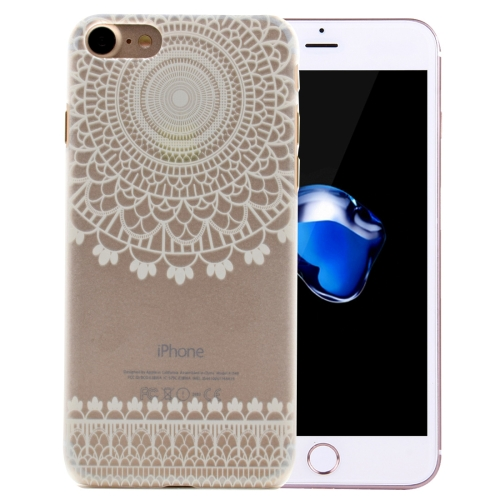 For iPhone 8 & 7 Mesh Flower Pattern Transparent PC Protective Case
