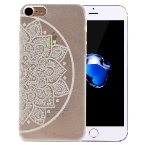 For iPhone 8 & 7 Right Half Flower Pattern Transparent PC Protective Case