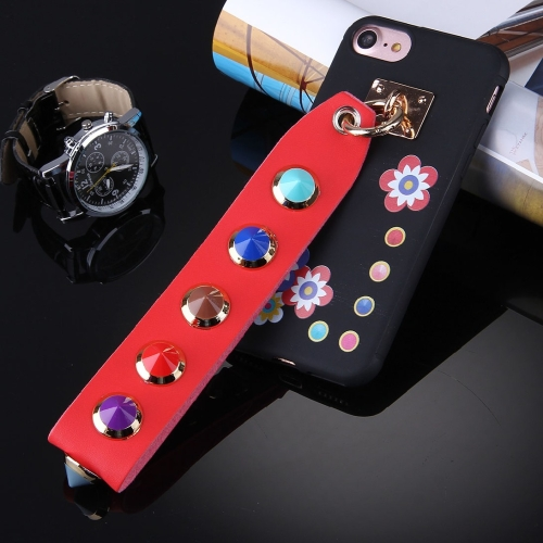 Buy For iPhone 7 Flower Pattern Soft TPU Protective Back Cover Case with Rivet Lanyard, Black for $3.62 in SUNSKY store