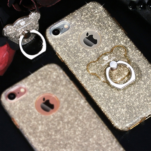 Buy AIQAA For iPhone 8 & 7 TPU Glitter Powder Drop-proof Protective Case with Bear Ring Holder, Golden for $3.45 in SUNSKY store