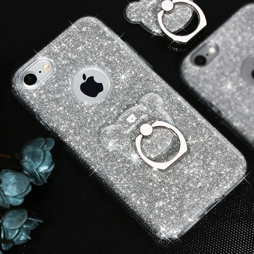Buy AIQAA For iPhone 8 & 7 TPU Glitter Powder Drop-proof Protective Case with Bear Ring Holder, Silvery for $3.45 in SUNSKY store