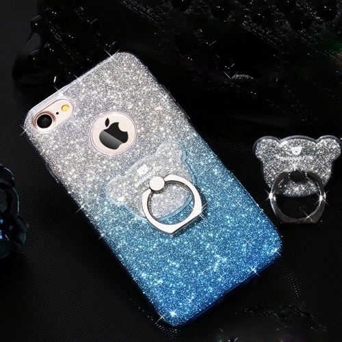 Buy AIQAA For iPhone 8 & 7 TPU Glitter Powder Drop-proof Protective Case with Bear Ring Holder, Blue for $3.95 in SUNSKY store