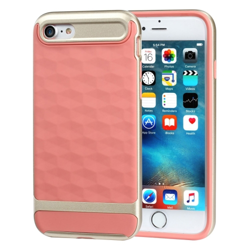 Buy For iPhone 8 & 7 3D Diamond PC + TPU Combination Protective Case (Orange Red + Gold) for $2.03 in SUNSKY store