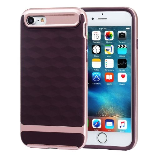 Buy For iPhone 8 & 7 3D Diamond PC + TPU Combination Protective Case (Wine Red + Rose Gold) for $2.03 in SUNSKY store