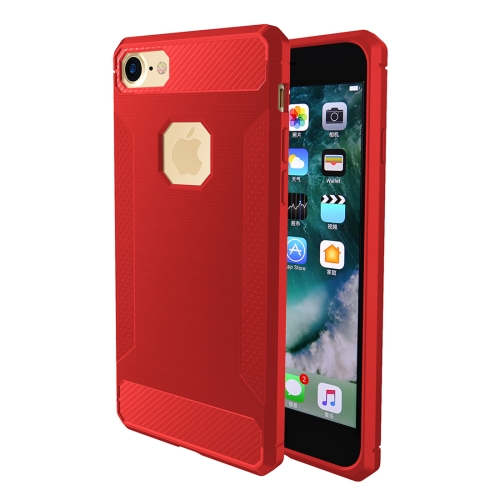 Buy For iPhone 8 & 7 Brushed Carbon Fiber Texture Shockproof TPU Protective Cover Case, Red for $1.87 in SUNSKY store