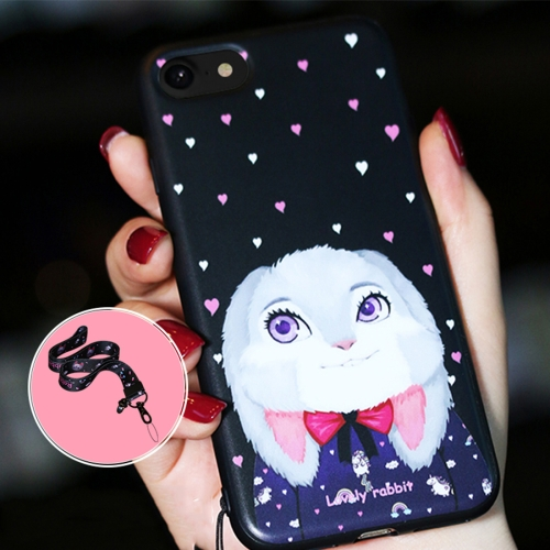 Buy AIQAA for iPhone 8 & 7 Animal Rabbit Pattern Soft TPU Protective Back Case Cover with Lanyard, Black for $3.39 in SUNSKY store