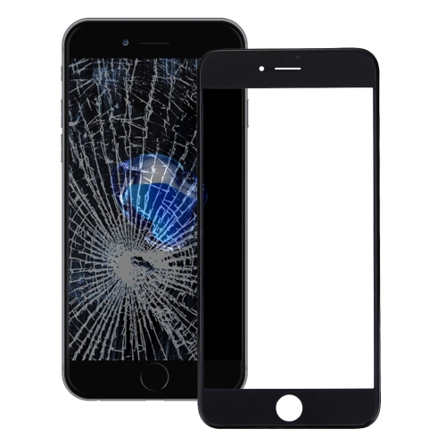 Front Screen Outer Glass Lens with Front LCD Screen Bezel Frame & OCA Optically Clear Adhesive for iPhone 7(Black)