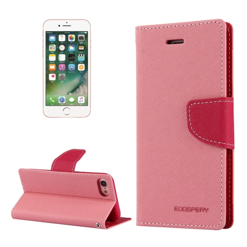 MERCURY GOOSPERY FANCY DIARY for iPhone 8 & 7 Cross Texture Horizontal Flip Leather Case with Card Slots & Wallet & Holder, Pink