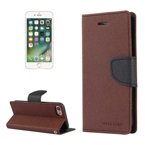 MERCURY GOOSPERY FANCY DIARY for  iPhone 8 & 7  Cross Texture Horizontal Flip Leather Case with Card Slots & Wallet & Holder(Brown)
