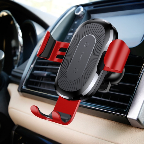 Buy Baseus 5V 2A PC + Silicone Gravity Holder Clamp Car Air Outlet Vent Fast Wireless Charger for $14.97 in SUNSKY store