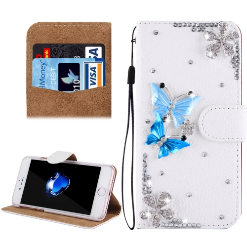 Buy Fevelove for iPhone 8 & 7 Diamond Encrusted Twin Butterflies Pattern Horizontal Flip Leather Case with Magnetic Buckle & Card Slots & Hand Strap for $3.23 in SUNSKY store