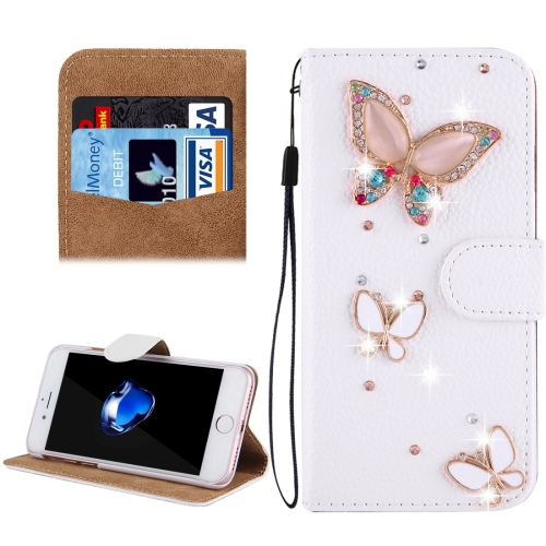 Buy Fevelove for iPhone 8 & 7 Diamond Encrusted Three Butterflies Pattern Horizontal Flip Leather Case with Magnetic Buckle & Card Slots & Hand Strap for $3.35 in SUNSKY store