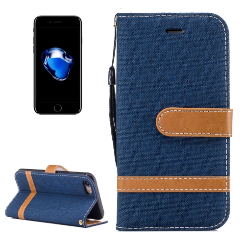Buy For iPhone 8 & 7 Denim Texture Leather Case with Holder & Card Slots & Wallet & Lanyard (Dark Blue) for $2.68 in SUNSKY store