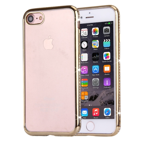 Buy For iPhone 8 & 7 Electroplating Diamond Encrusted Transparent Soft TPU Protective Cover Case, Gold for $1.59 in SUNSKY store