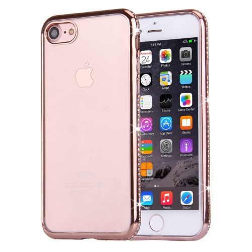 Buy For iPhone 8 & 7 Electroplating Diamond Encrusted Transparent Soft TPU Protective Cover Case (Rose Gold) for $1.59 in SUNSKY store