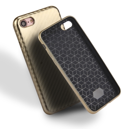 Buy For iPhone 8 & 7 Artistic Carbon Fibre Texture Soft TPU Protective Case Back Cover, Gold for $2.00 in SUNSKY store