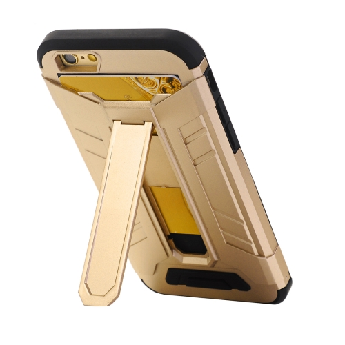 For iPhone 8 & 7 TPU + PC Shockproof Protective Back Cover Case with Holder & Card Slots, Gold
