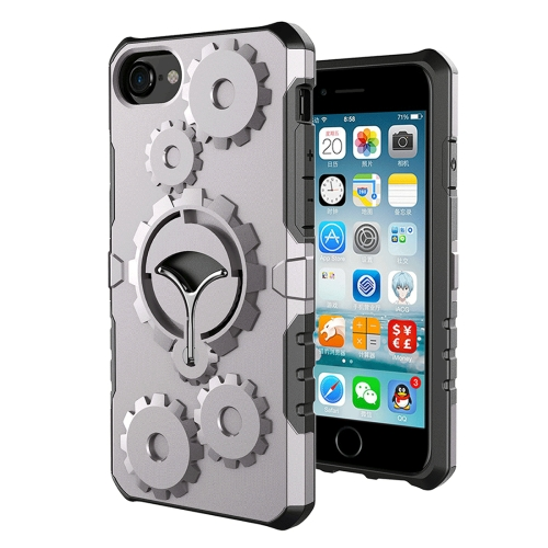 Buy For iPhone 8 & 7 Gearwheel Style TPU + PC Multi-function Outdoor Sports Protective Back Cover Case With 360 Degree Rotatable Holder & Armband, Grey for $3.94 in SUNSKY store