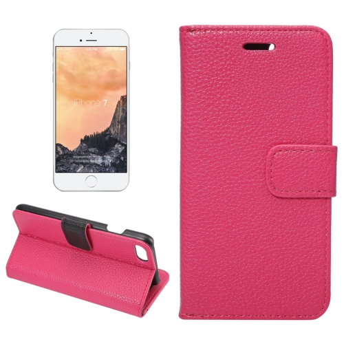 Buy For iPhone 8 & 7 Lichee Texture Horizontal Flip Leather Case with Holder & Card Slots & Wallet, Magenta for $2.50 in SUNSKY store
